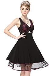 Ever Pretty New Fab Purple & Black V-Neck Empire Line Cocktail Dress 02236