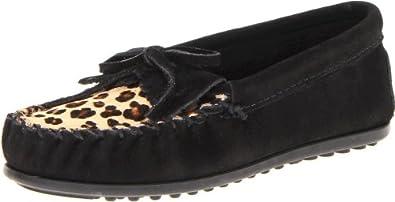 迷你唐卡 Minnetonka 豹纹款 Kilty女童软皮鞋Leopard Kilty 黑 $29.44