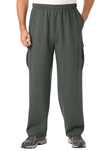 Easy-Care Fleece Cargo Pants, Heather Charcoal Tall-L
