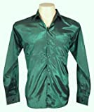 Men's Thai Silk Shirt Long Sleeved / Sleeves in Dark Green Size XXL