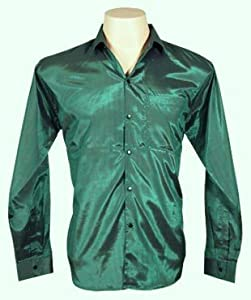Men 39 s thai silk shirt long sleeved sleeves in dark green for Mens silk shirts amazon