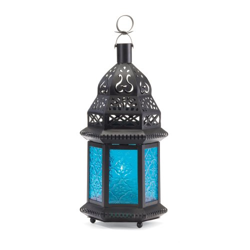 B008YQ4WHO Gifts & Decor Moroccan Lantern Blue Glass Candle Holder Candleholder
