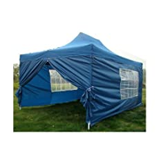 NEW WATERPROOF 3M X 4.5M POP UP TENT GAZEBO MARQUEE PARTY TENT CANOPY+ 4 SIDES (BLUE)