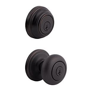Kwikset 991 Juno Entry Knob and Single Cylinder Deadbolt Combo Pack featuring SmartKey® in Venetian Bronze