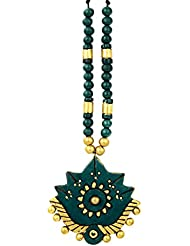 Aadaa Floral Collection Dark Green And Gold Terracotta Necklace And Earring Set For Women
