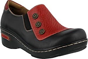 L'Artiste by Spring Step Women's Mehdi Closed Back Clog,Black Multi Leather,EU 4