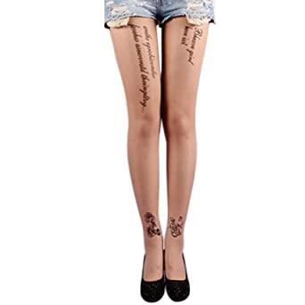FUNOC Fashion Sexy Women Tattoo Pattern Transparent Socks Tights Pantyhose Stockings (01.Rose+Letters)