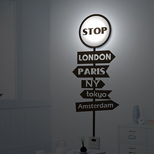 3D Wallpaper Stop Lamp Cartoon Wall Light Shell Case Sticker Lamp