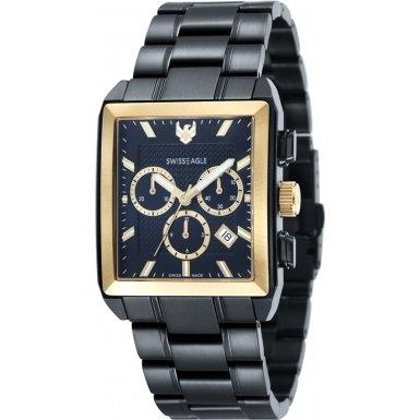Swiss Eagle SE-9050-66 - Reloj para hombres, correa de acero inoxidable color negro