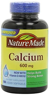 Nature Made Calcium 600mg with Vitamin D 100 Softgels (Pack of 9)
