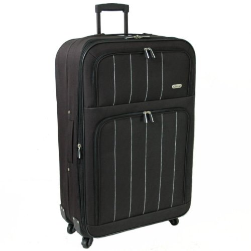 Karabar Extra Large 28 Inch Super Lightweight Expandable 4-Wheel Suitcase (Black)