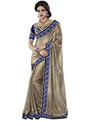Manvaa Half & Half Georgette Embroidered Party Wear Saree With Fancy Blouse Piece