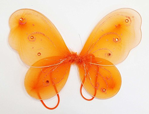 "LolaSaturdays 12"" X 10 3/4"" Fairy Princess Butterfly Costume Dress-up Wings (Orange)"
