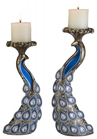 Bejeweled Pendants Peacock Candleholder Set