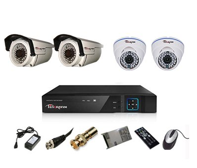 Tentronix-T-4ACH-4-DBA13-4-Channel-AHD-Dvr,-2(1.3MP/36IR)-Dome,-2(1.3MP/36IR)-Bullet-Cameras-(With-Accessories)