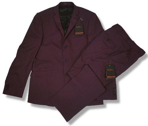 Ben Sherman Slim Fit 3 Button Mod Suit Wine Burgundy 48 chest / 40 waist
