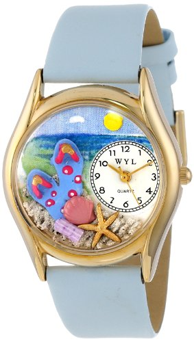 Whimsical Watches Women'S C1210013 Classic Gold Flip-Flops Bay Blue Leather And Goldtone Watch front-794045