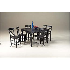 Black Pub Table and Barstools, Buffet and Hutch Dining Room Furniture Set: Table and 6 Bar Chairs and China Cabinet