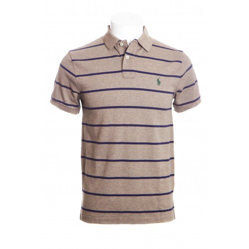 Polo Ralph Lauren mens short sleeve slim fit polo shirt in new england heather with newport navy stripes LGE