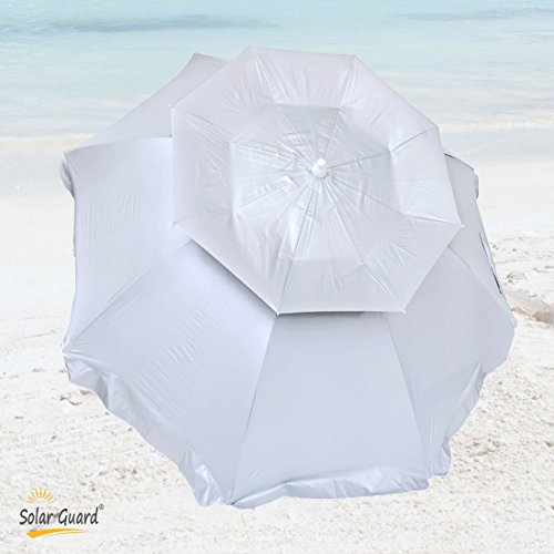6 ft Solar Guard Deluxe Dual Canopy Beach Umbrella UPF 150+ Ultra Cool - Heavy Duty Wind / Water Resistant with Hanging Hook
