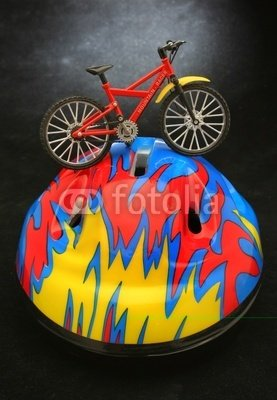 Wallmonkeys Peel and Stick Wall Decals - Security. Bicycle over a Helmet - 18