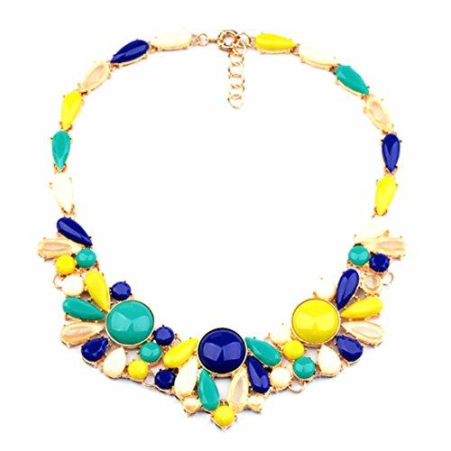 Qiyun Fiore Giallo Resina Blu Collana Di Perline D'Oro Del Choker Del Collare Pettorina 18K