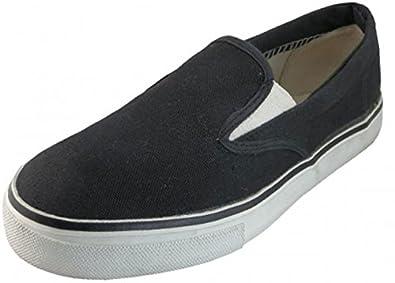 Mens Canvas Deck Shoes Sneakers 3 Colors Available,7 D(M) US,S326 Black White Decks