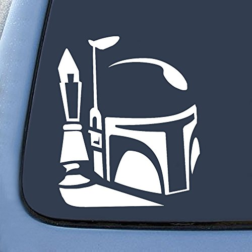"Bargain Max Boba Fett Helmet Sticker Decal Notebook Car Laptop 5.5"" (White)"