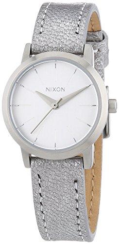 Nixon Kenzi Leather - Reloj de cuarzo para mujer, correa de cuero color plateado
