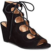 American Rag Suriya Lace-Up Demi Wedge Sandals (Black)