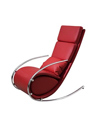 Whiteline Chloe Faux Leather Rocker Chair & Ottoman, Red
