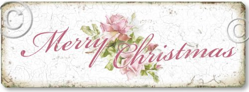 Item 05114 Shabby Chic Pink Roses Christmas Sign