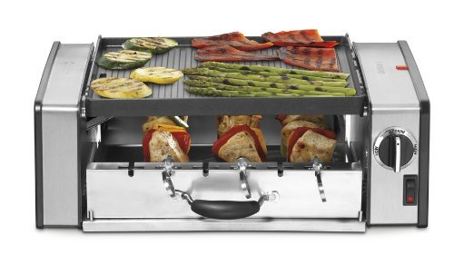 Cuisinart 1000 Watt Compact Indoor Grill and Griddler with 2-Tiered Grilling, Features Reversible Nonstick Die-Cast Grill/Griddle Plate, Six Piece Stainless Steel Skewer and Hot Dog Set with Adjustable Temperature Control and Dishwasher Safe, Removable Kebab Drawer, Drip Cup and Grill Plate (Cuisinart Grill Plates compare prices)