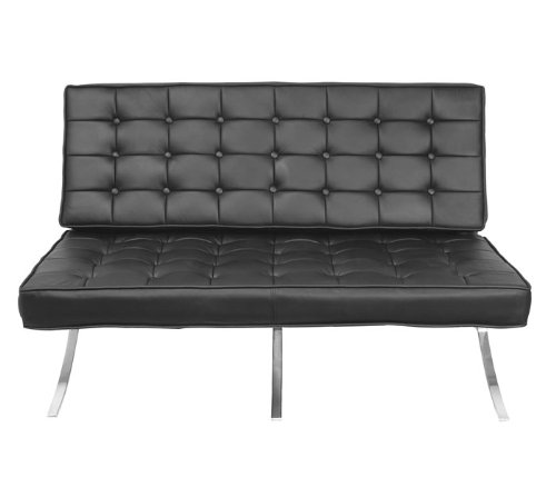 Buy Low Price Regency Contract Black Leather Tufted Loveseat (B005LXPAPQ)