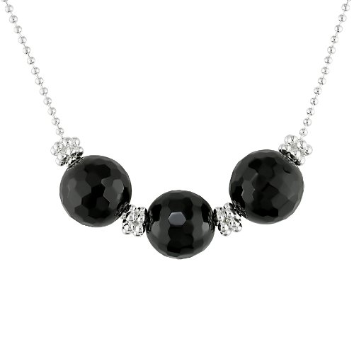 Sterling Silver Black Onyx Beads 2-Row Hex Necklace