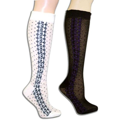 Openwork Vines 2 Pack Black & Ivory Knee High Socks