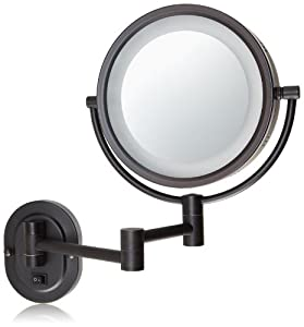 Jerdon HL65BZD Hard-Wired 8-Inch Two-Sided Swivel Halo Lighted Wall Mount Mirror with 5x Magnification, 13-Inch Extension, Bronze Finish