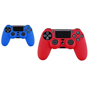 CommonByte 2x Blue / Red Silicone Controller Case Combo For Sony PlayStation PS4