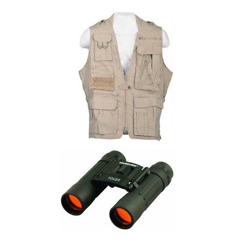 Humvee Hmv-Vs-K-L Safari Vest In Khaki Large Size W/ 10X25 Rubber Coated Compact Binocular In Black