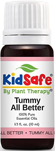 KidSafe Tummy All Better Synergy Essential Oil Blend 10 ml (1/3 oz). 100% Pure, Undiluted, Therapeutic Grade, (Blend of: Petitgrain, Dill, Chamomile Roman, Spearmint and Ginger.)
