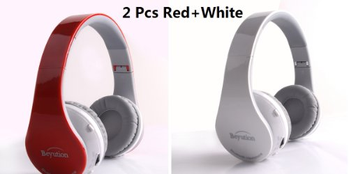 New 2Pcs(Red+ White) Beyution@ Smart Wireless Bluetooth Headphone Black Color--- Works With Iphone 5/4S/4/3,Ipod 5/4/3Th Series; New Ipad 4/3/2/1 Series; Samsung Galaxy 4/3; Samsung Smart Phone; Lg ; Htc; Nokia; Huawei; Motolora; Blackberry; Philips; Tosh
