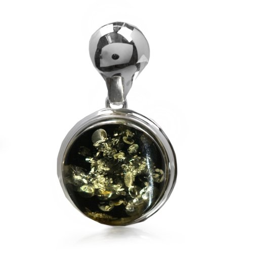 Green Amber and Sterling Silver Round Pendant