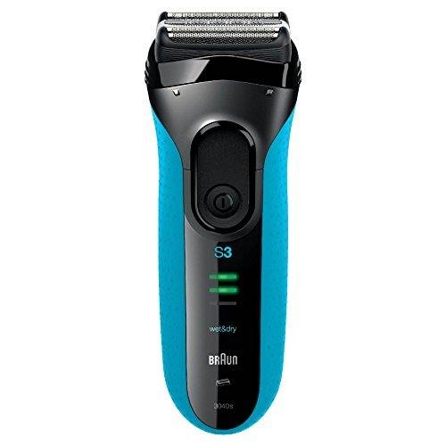 Braun Series 3 3040s Wet&Dry Rasoio Elettrico a Lamina, Tecnologia MicroComb, Ricaricabile, Blu
