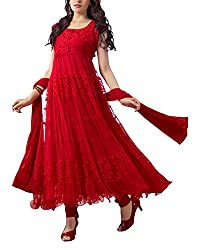 Fabfiza Womens Brasso & Net Self Print Salwar Dress Material (Fbfn-1454 _Red _Free Size)