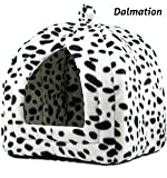 Soft Fleecy Pet Puppy Dog Cat Rabbit Igloo Triangle Pyramid Dalmatian Hut Removable Cover