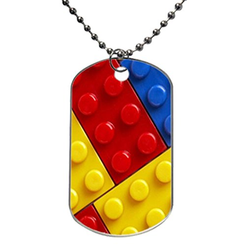 Classic Simple Lego Blocks design personlized style dog tag pet tag Necklaces pendant Bead Chain, Dog Tag Size 1.3X2.2X0.1 inches in Diameter
