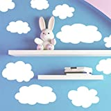 Create-A-Mural Fluffy Cloud Wall Decals -Baby Nursery Room Wall Decor (Color: White)
