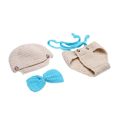 Andoer Baby Infant Bow Tie Suspender Hat Suit Soft Clothes for 0-6 Month Newborn - 1