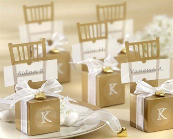 Miniature Gold Chair Favor Box with Heart Charm and Ribbon