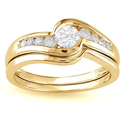 0.58 Carat Engagement Ring Sets Round Cut Diamond on 14K Yellow gold